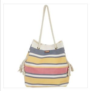 Sun N' Sand Horizontal Yellow Stripes Beach Tote
